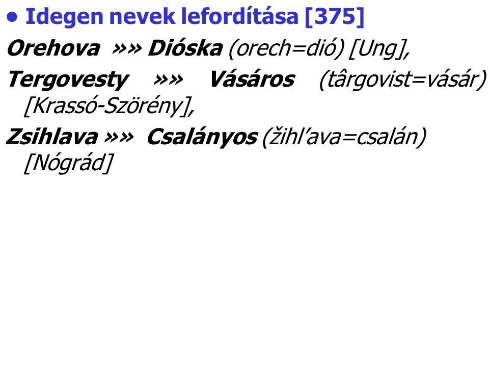 • Idegen nevek lefordítása [375]